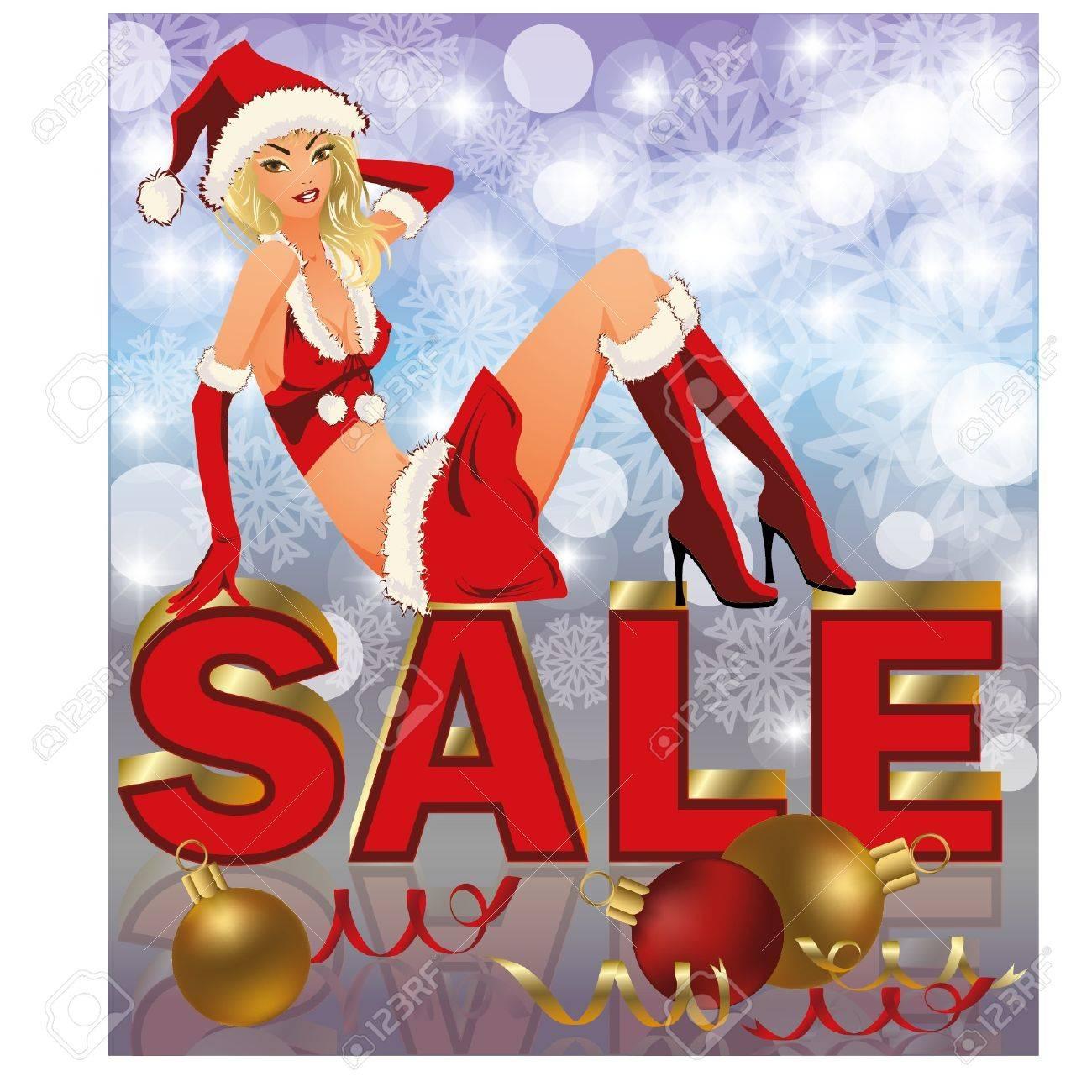 サンタ女の子イラストとクリスマスの販売の背景 ロイヤリティフリー