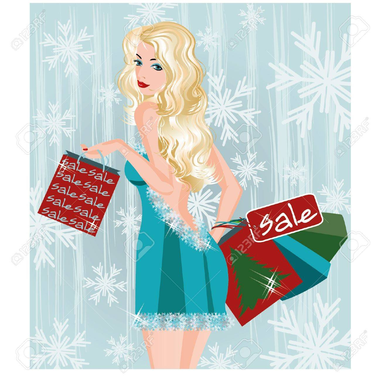 Winter sale girl with shopping bags, vector illustration Stock Vector - 17109529
