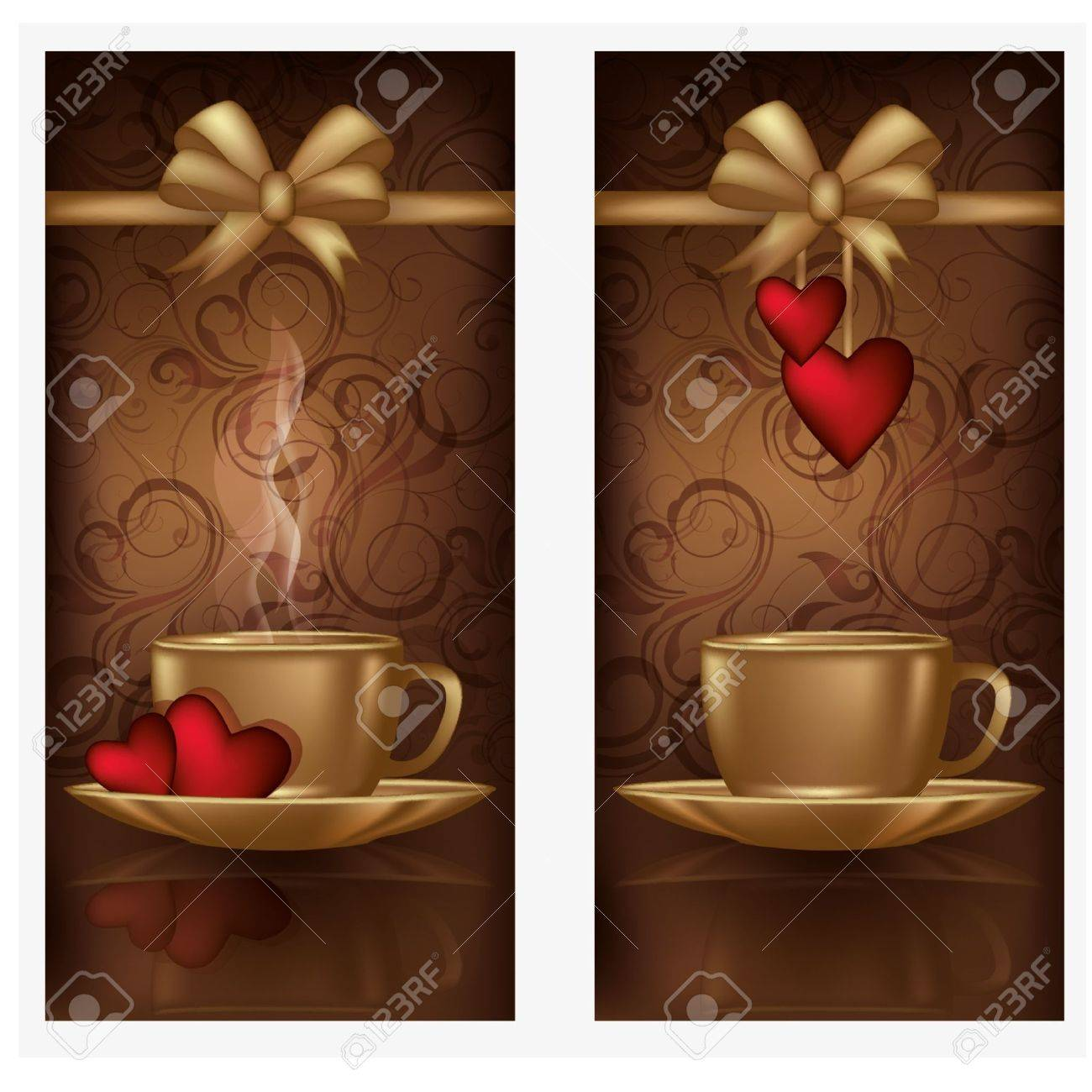 Two love banners with coffee, illustration Stock Vector - 17236416