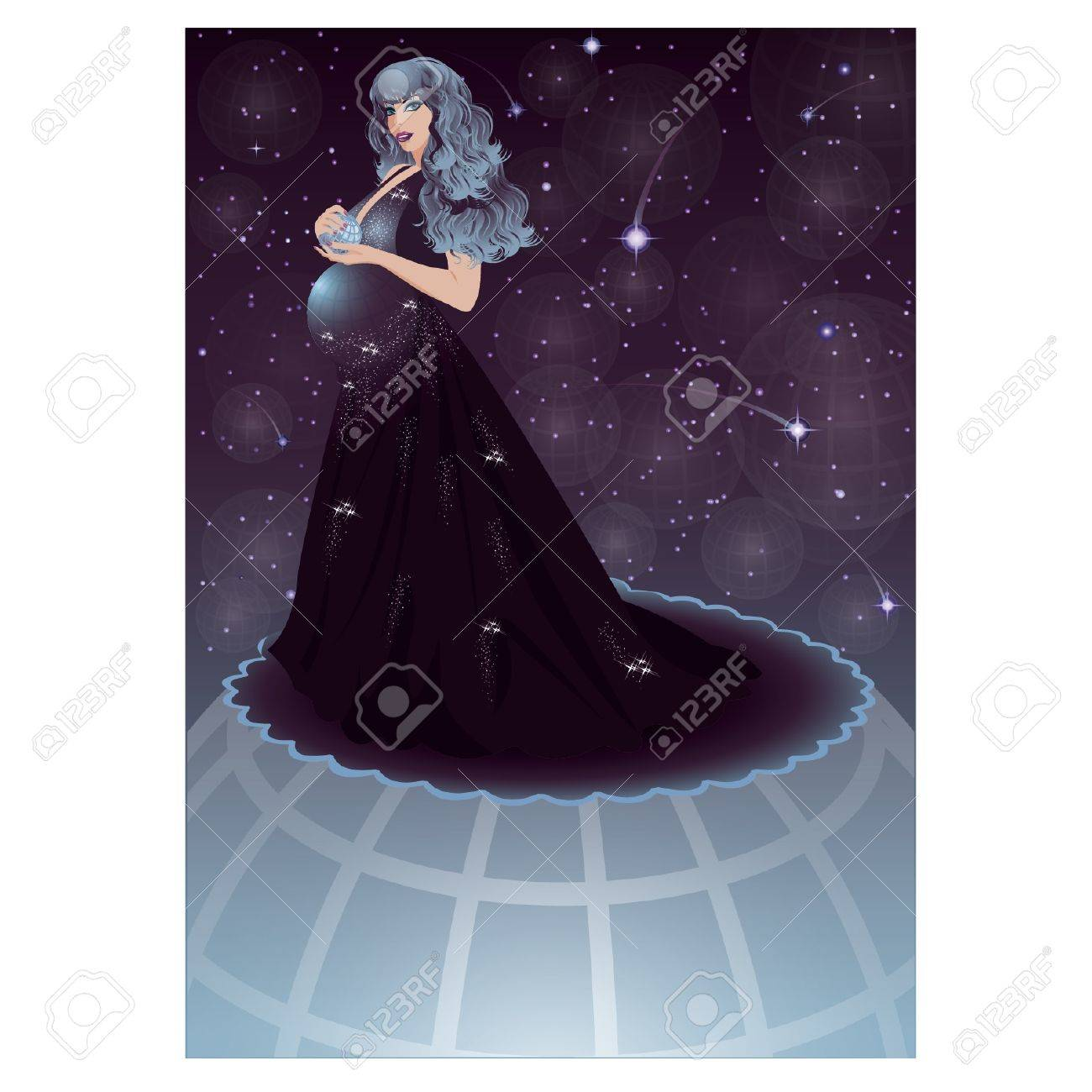 Pregnant night sky women, vector illustration Stock Vector - 17313920