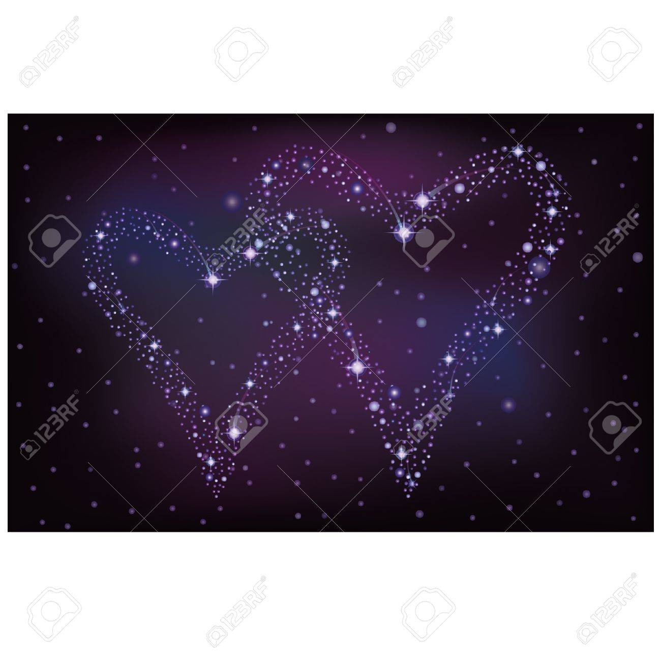 Night sky with two stars hearts, vector illustration Stock Vector - 17376036