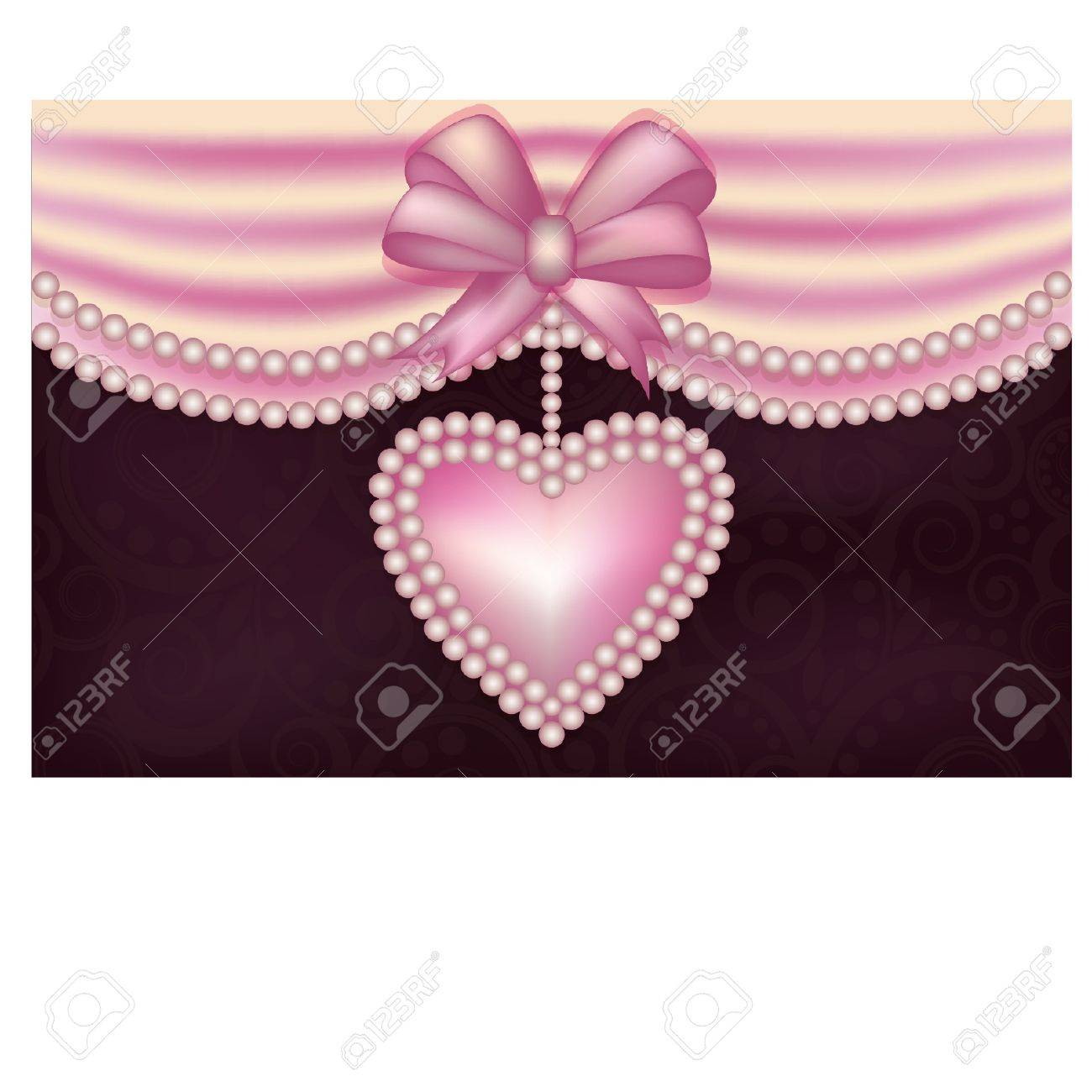 Valentine s Day love banner with pearls heart Stock Vector - 17621756