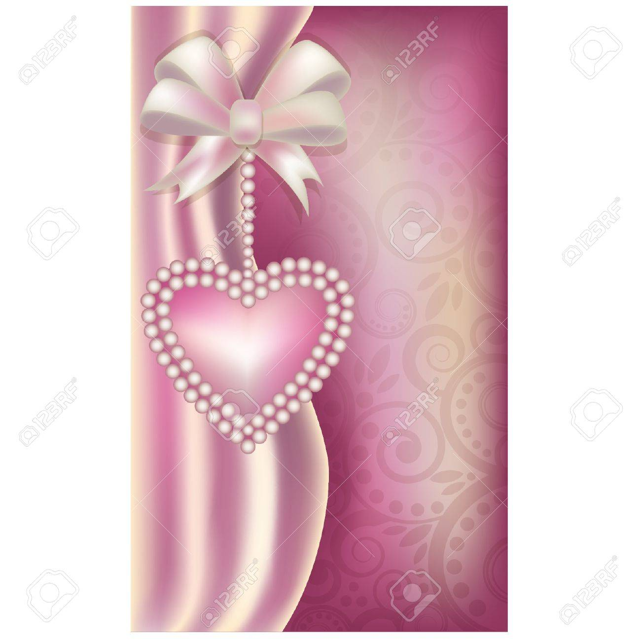 Valentine s Day vertical banner with pearls heart , illustration Stock Vector - 17714056