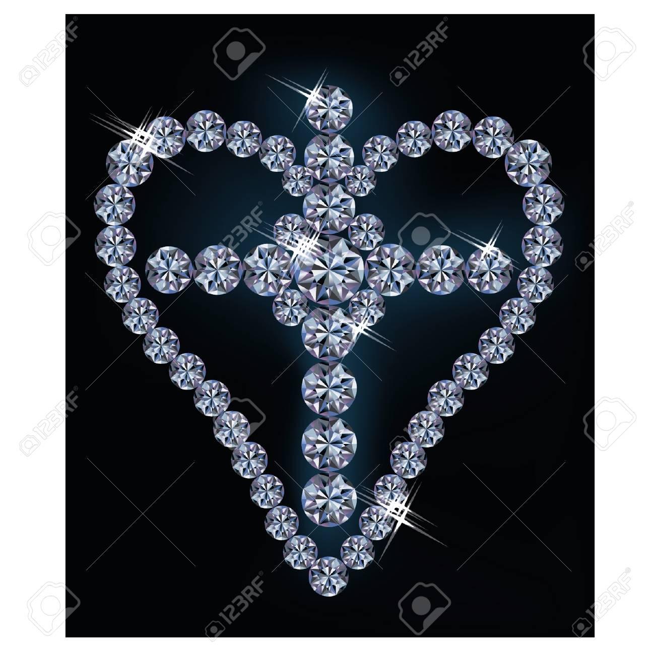 Diamond cross and heart, vector illustration Stock Vector - 17836504