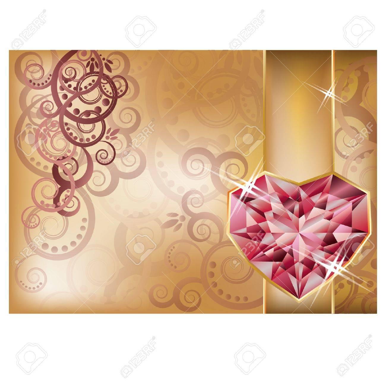 Tarjeta De Felicitación De La Boda Con El Corazón De Rubí Vector