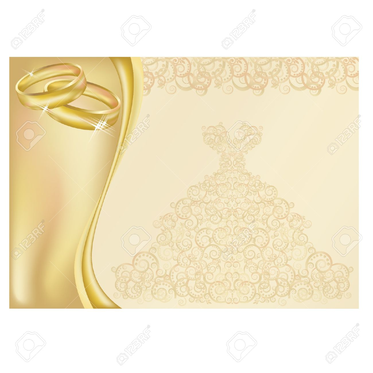 Wedding invitation card with two golden rings royalty free cliparts vector wedding invitation card with two golden rings stopboris Choice Image