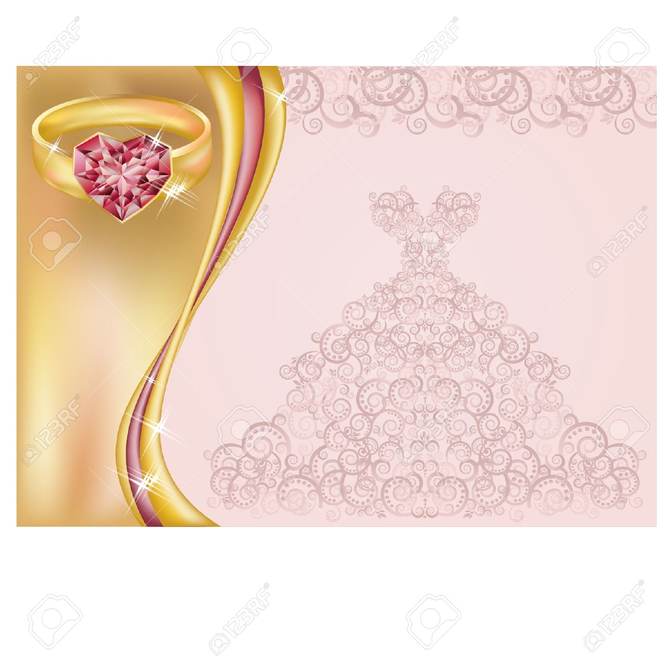 Wedding invitation card with bride dress and golden ring illustration Stock Vector - 19935522