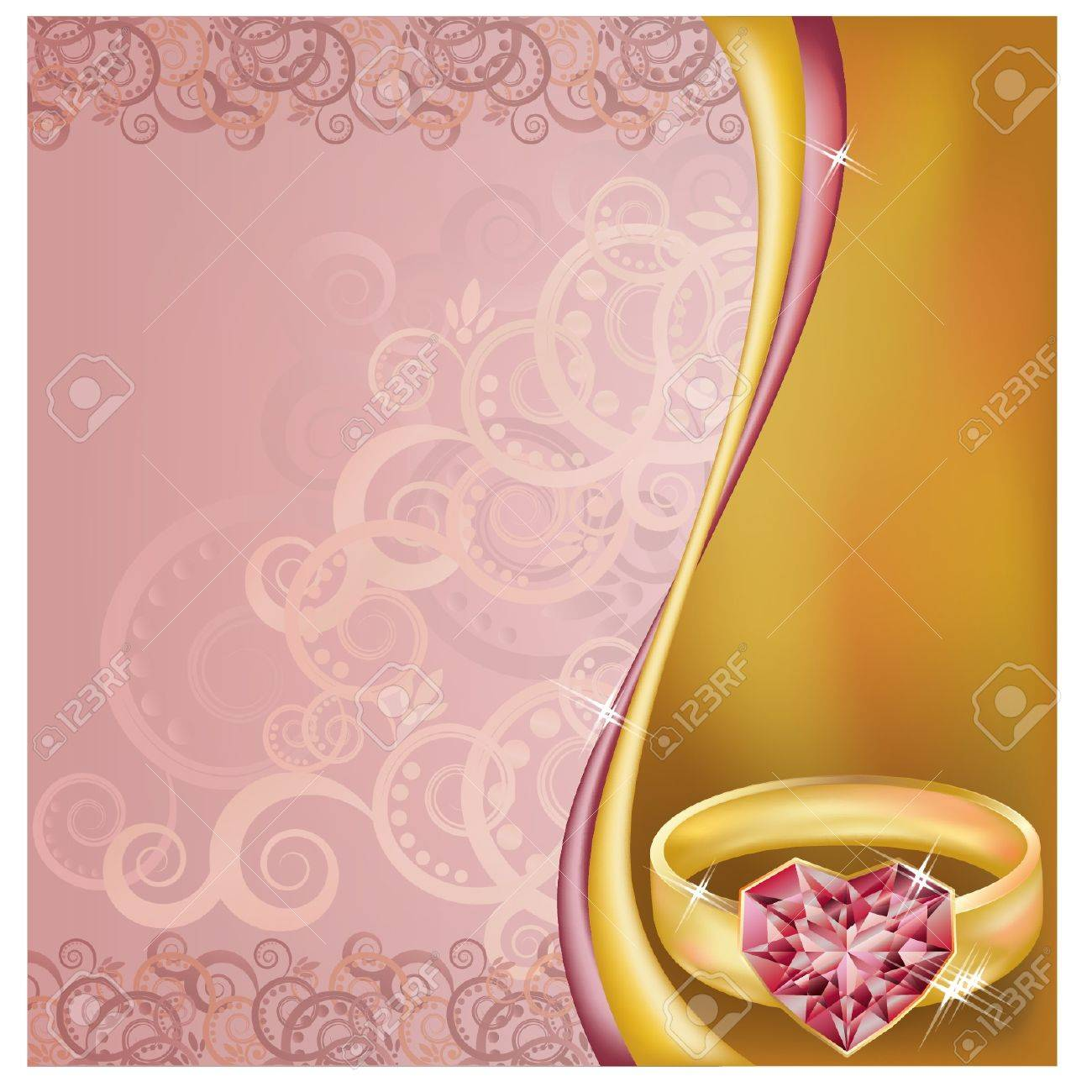 Wedding Invitation Card With Ruby Heart Ring Royalty Free Cliparts ...
