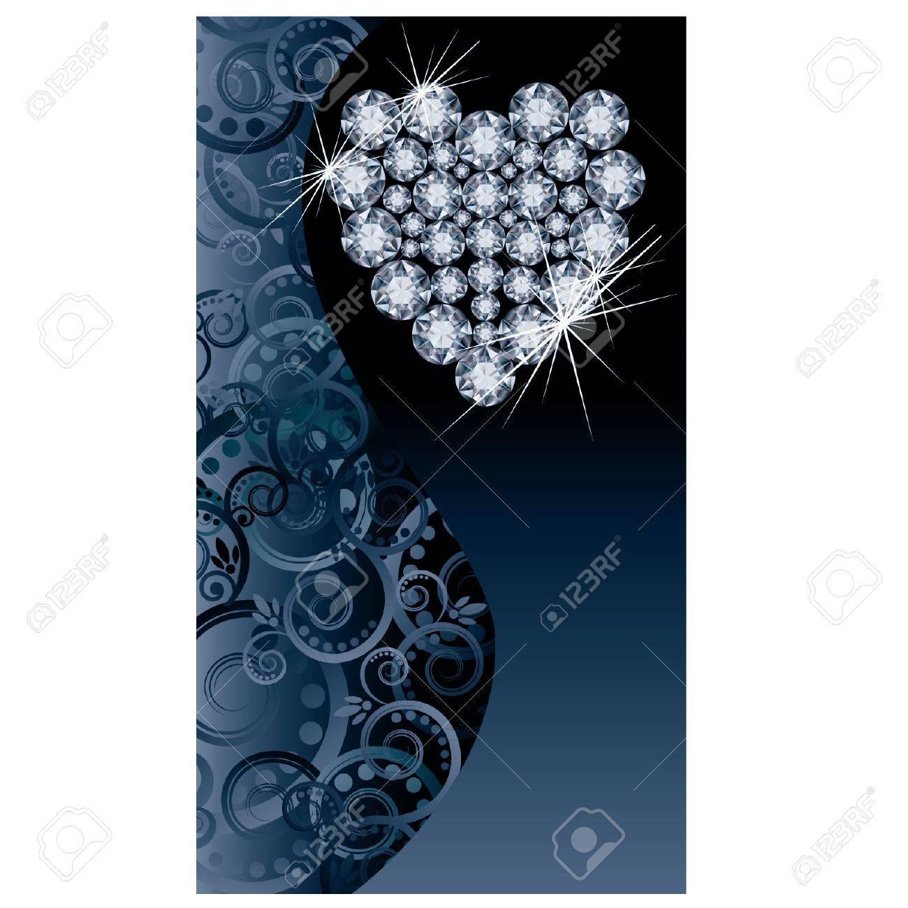 Love wedding banner with brilliant heart Stock Vector - 21159998