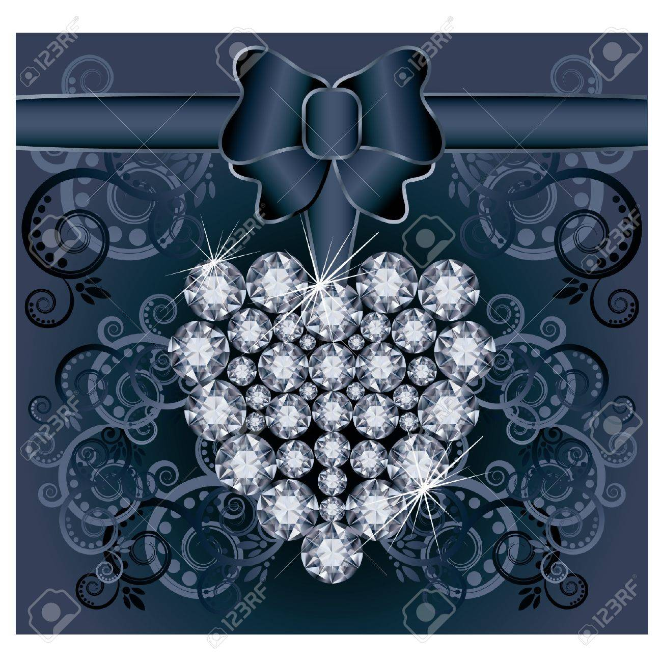Romantic wedding postcard with diamond heart Stock Vector - 21160009