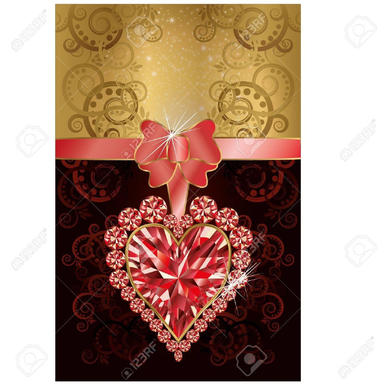 Tarjeta De Invitación De Boda Con El Corazón De Rubí Y El Patrón Floral
