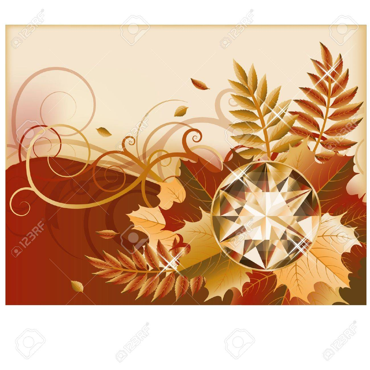 Autumn banner with precious gemstone, vector illustration Stock Vector - 21635354