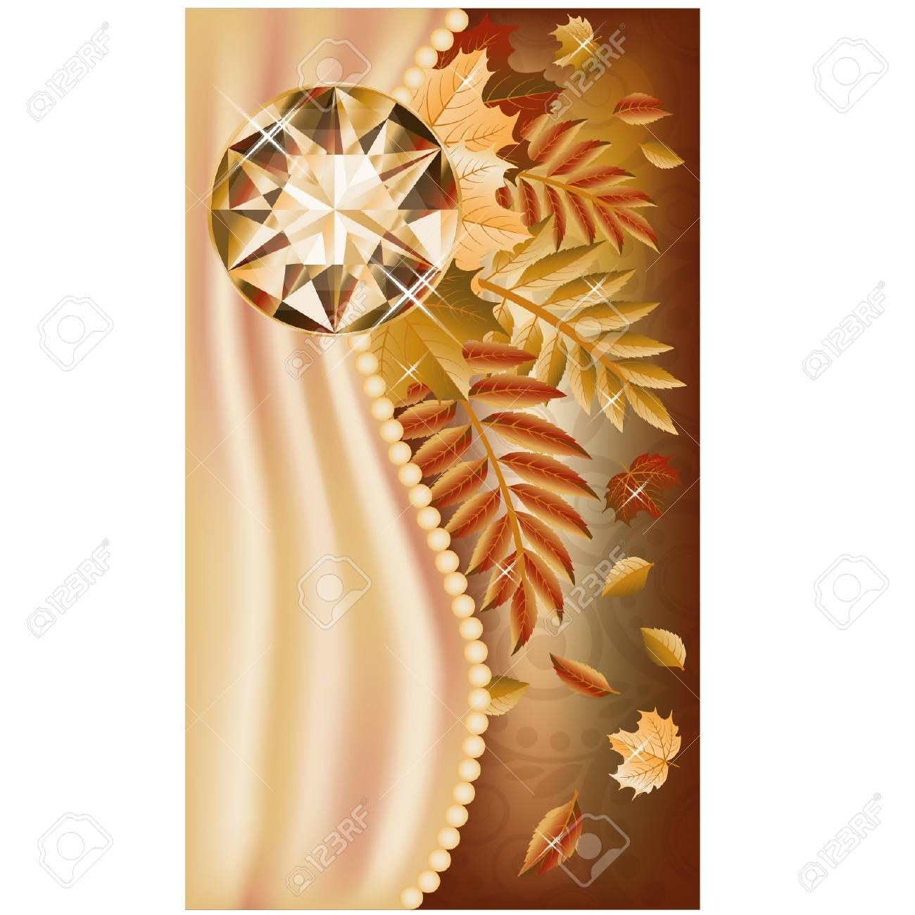Autumn greeting card with precious gemstone, vector illustration Stock Vector - 21635368