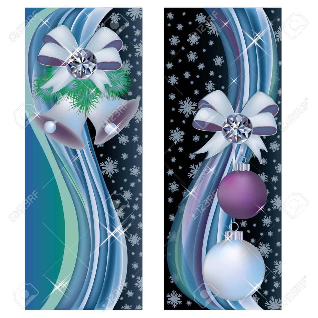 Two christmas greeting banners, vector illustration Stock Vector - 23084645