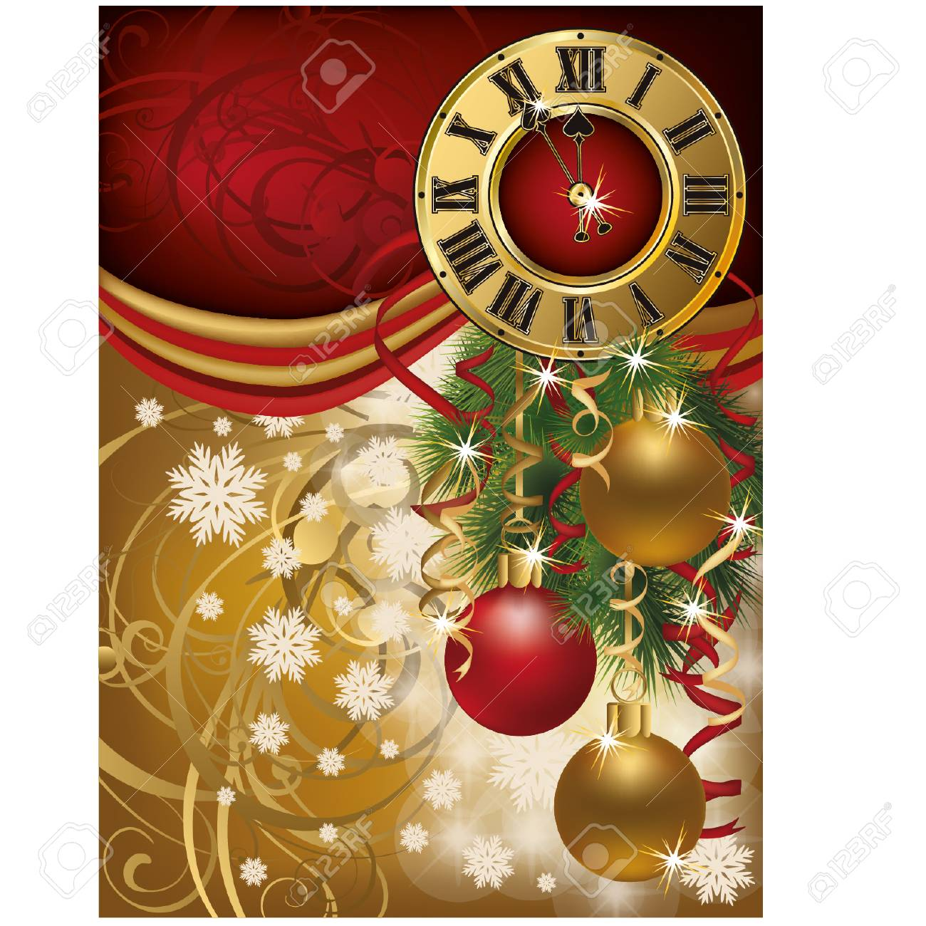 new year invitation card with xmas clock vector illustration stock vector 23558663