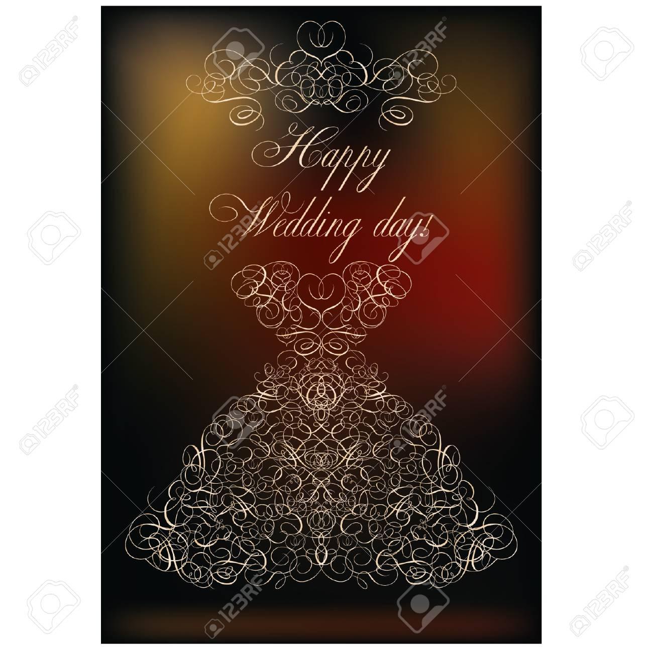 Happy Wedding Day Invitation Card, Vector Illustration Royalty Free ...