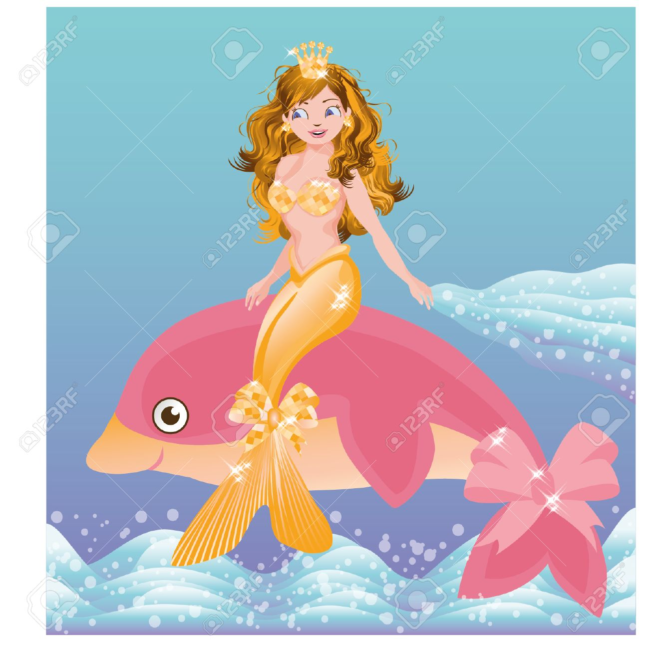 young golden mermaid and pink dolphin vector illustration