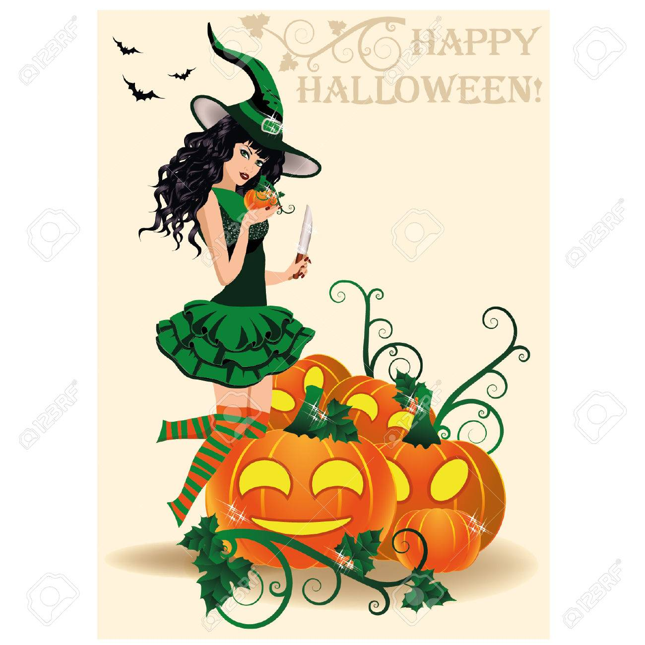 Happy Halloween Card. Young Witch And Pumpkins, Vector Illustration Stock  Vector   31528373