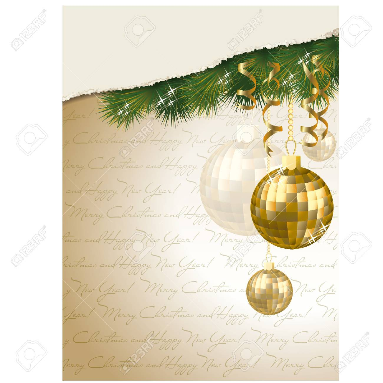 merry christmas and happy new year invitation card vector illustration stock vector 34249525