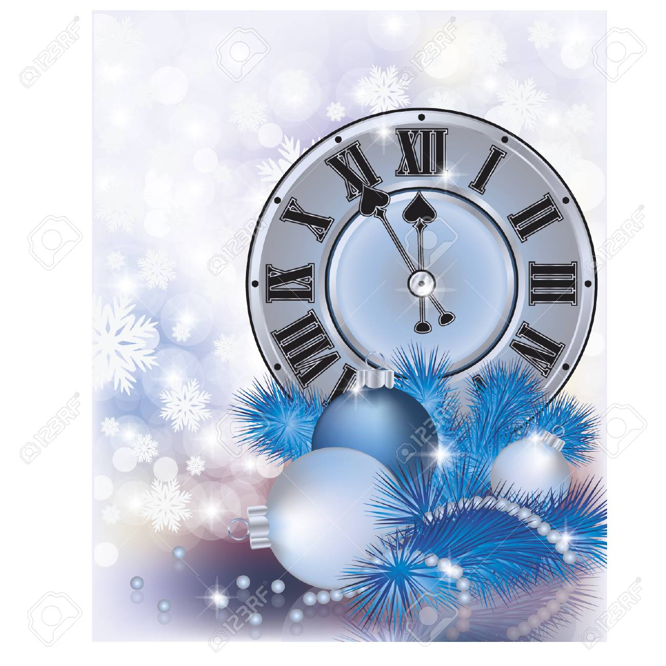 elegant new year background with silver clock stock vector 46618334