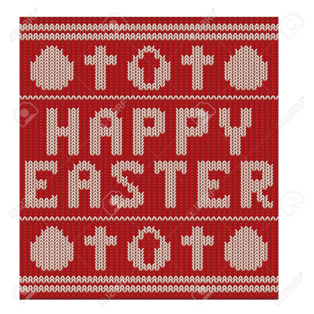 Happy Easter Knitting Pattern With Cross And Egg, Vector ...