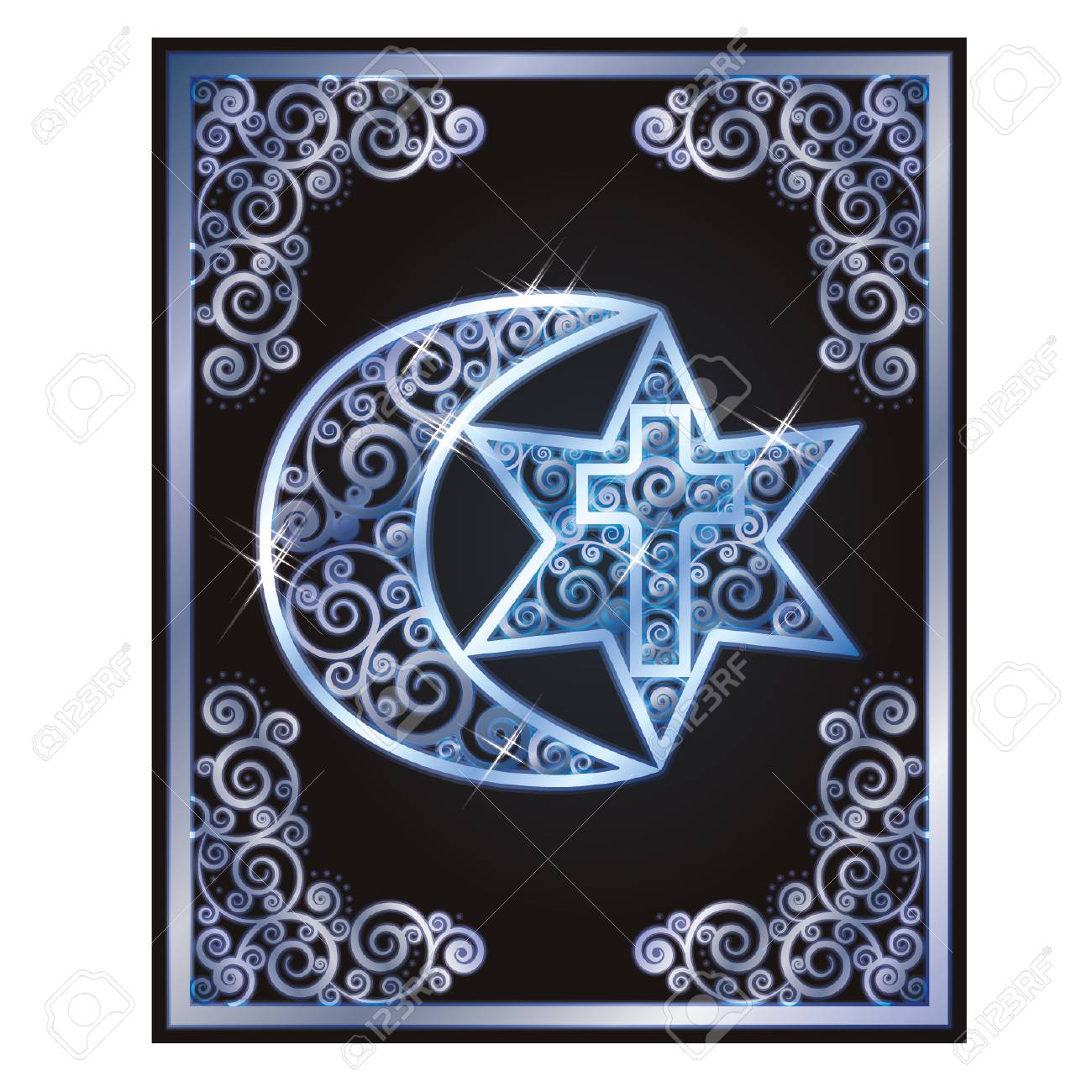 Symbols Of The Three Religions Judaism Christianity Islam
