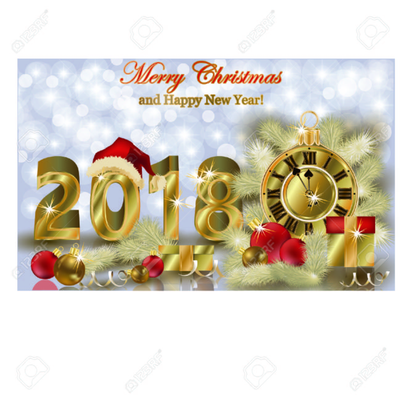 merry christmas and happy new year 2018 wallpaper vector illustration stock vector 88281795