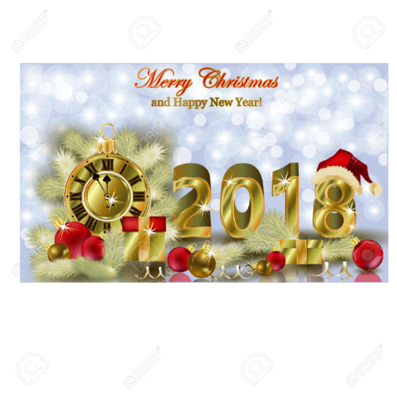 merry christmas and happy new year 2018 vector illustration stock vector 88281706