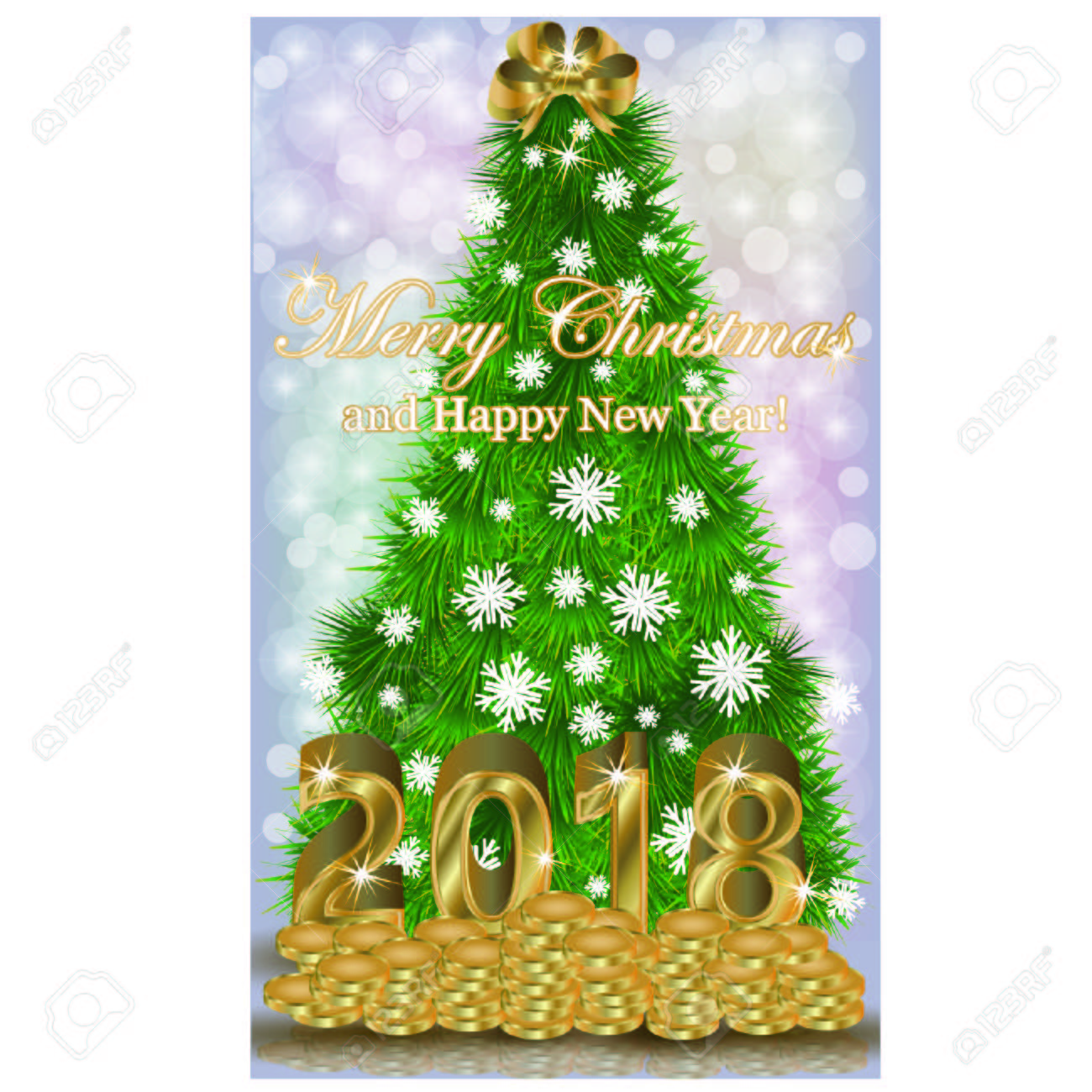 Merry Christmas And Happy New Year 2018 Golden Coins Card, Vector ...