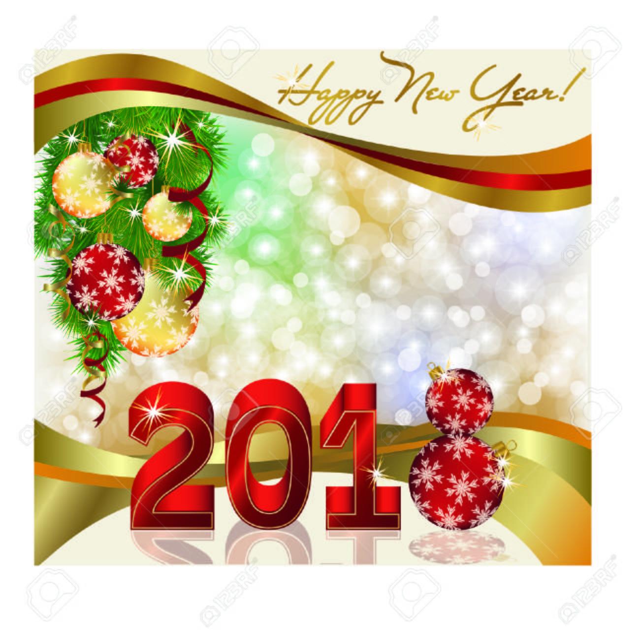happy new year 2018 invitation card stock vector 88335222