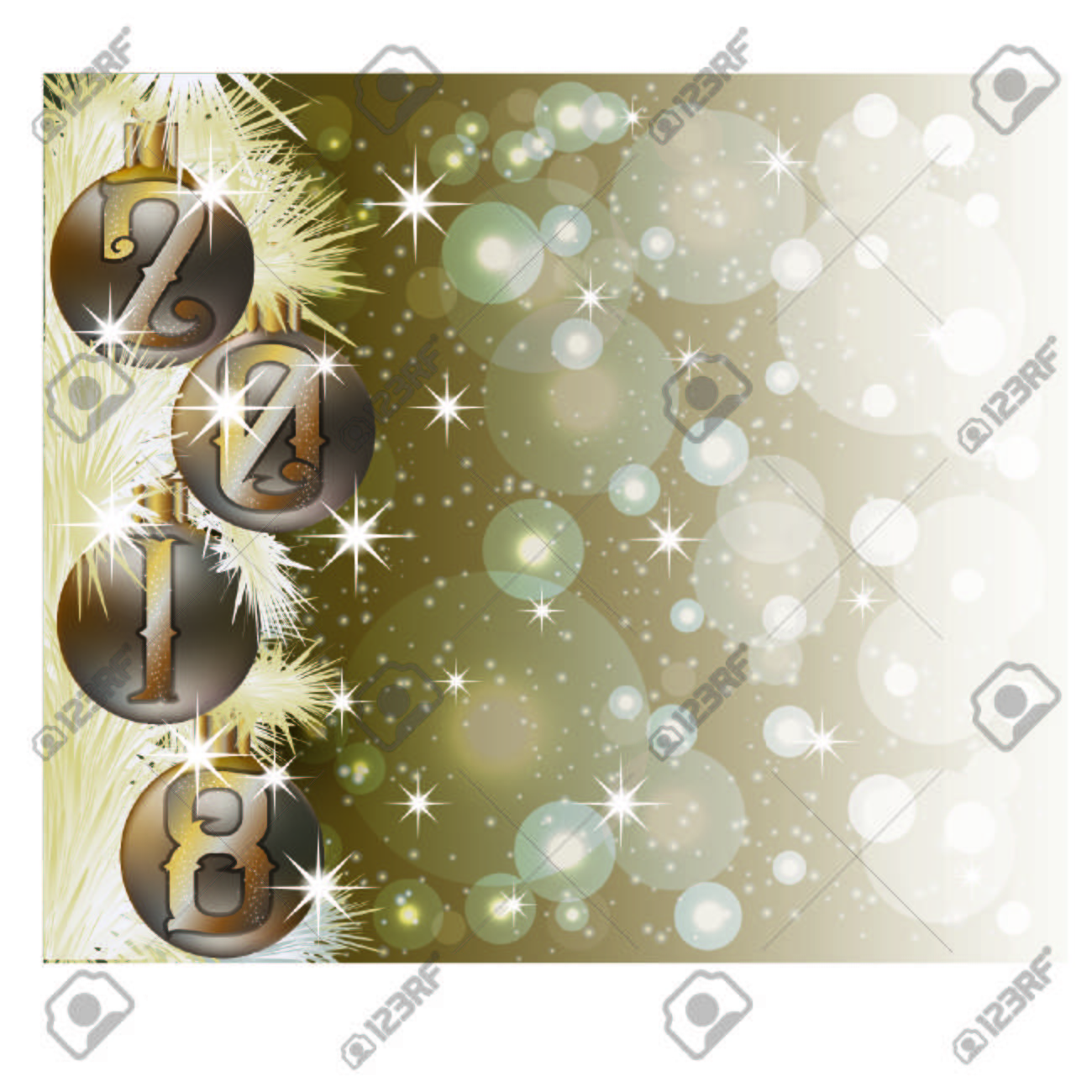 merry christmas and happy 2018 new year invitation card vector illustration stock vector 89018738