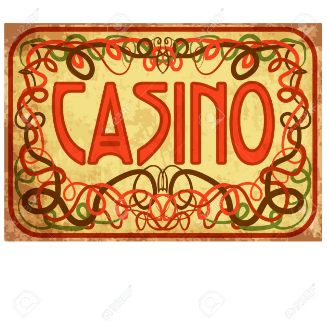 Casino Wallpaper In Art Nouveau Style, Vector Illustration Royalty ...