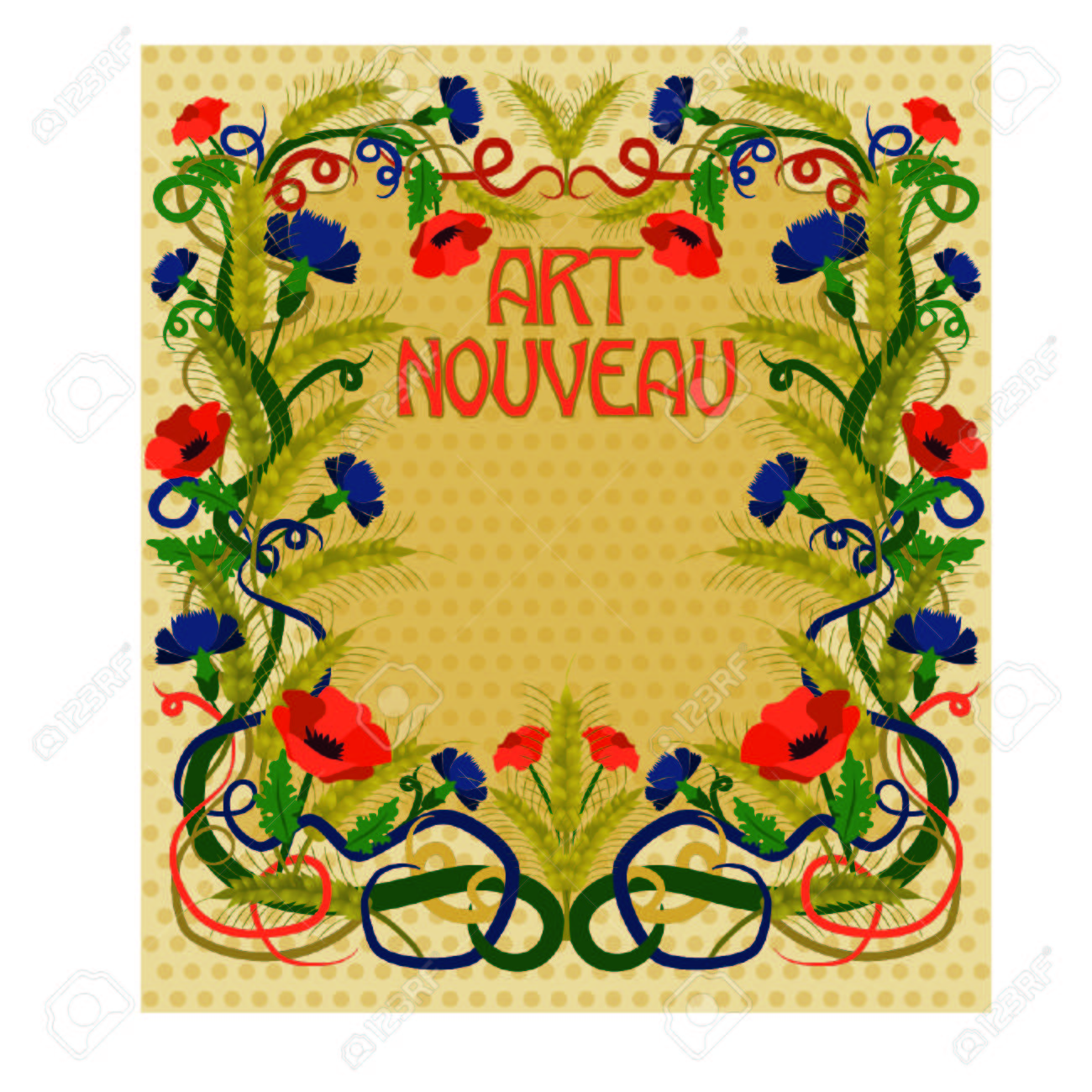 Wheaten Wallpaper In Art Nouveau Style, Vector Illustration Royalty ...