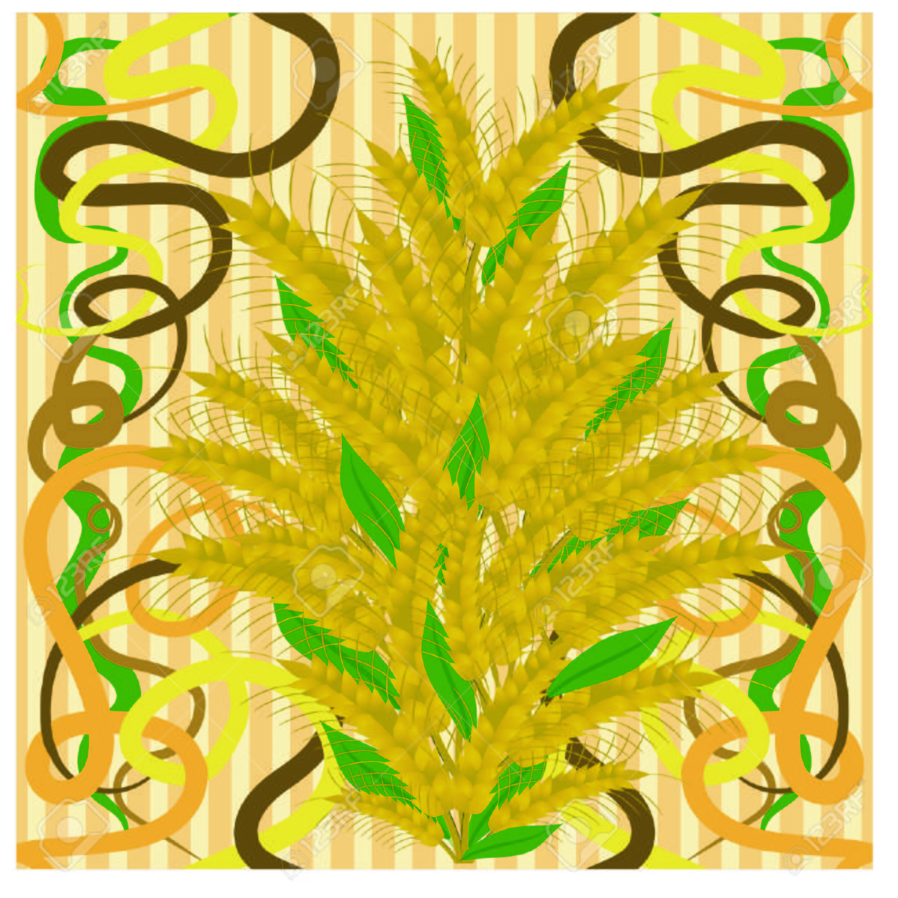 Seamless Wallpaper With Wheat In Art Nouveau Style, Vector ...