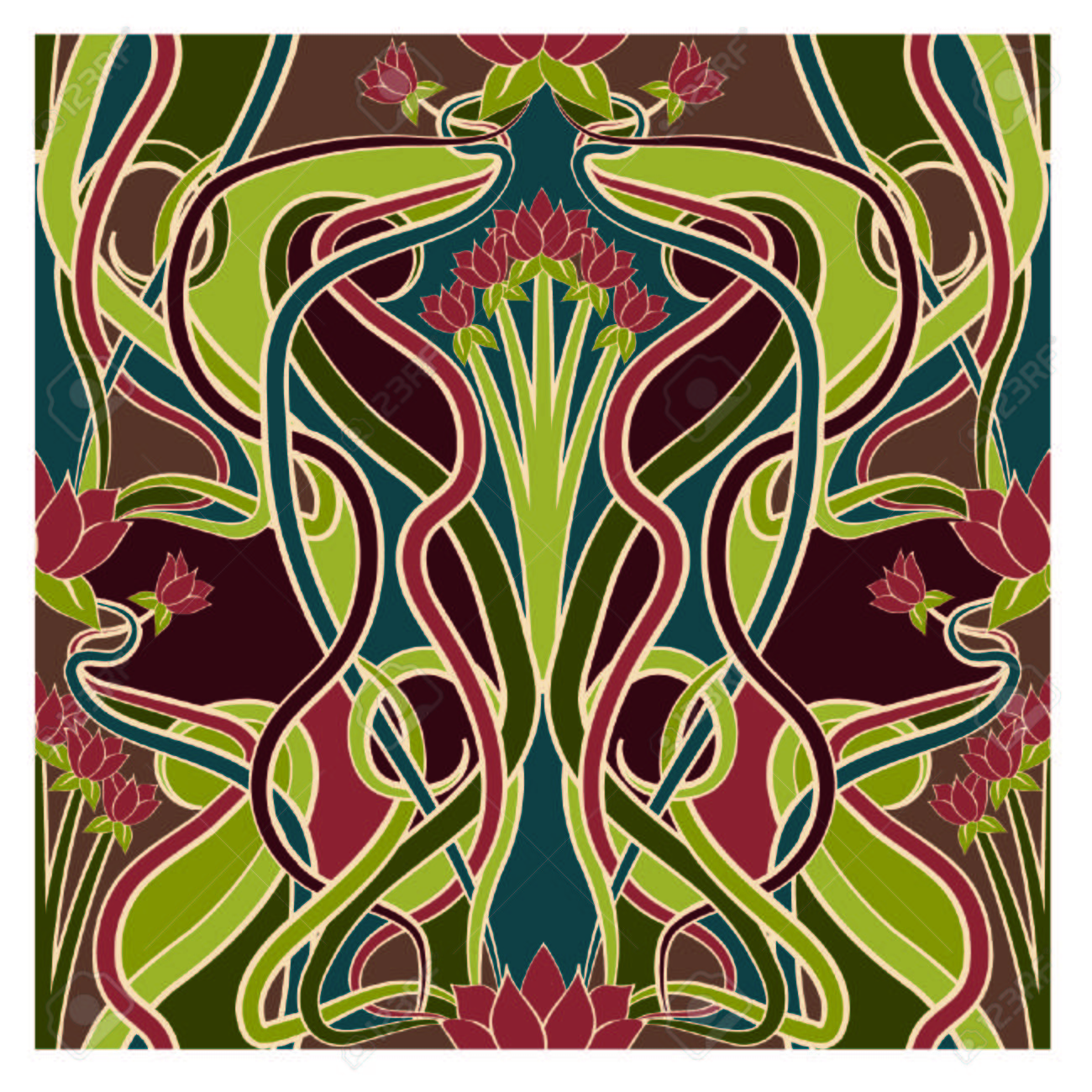 Seamless Floral Wallpaper In Art Nouveau Style Vector