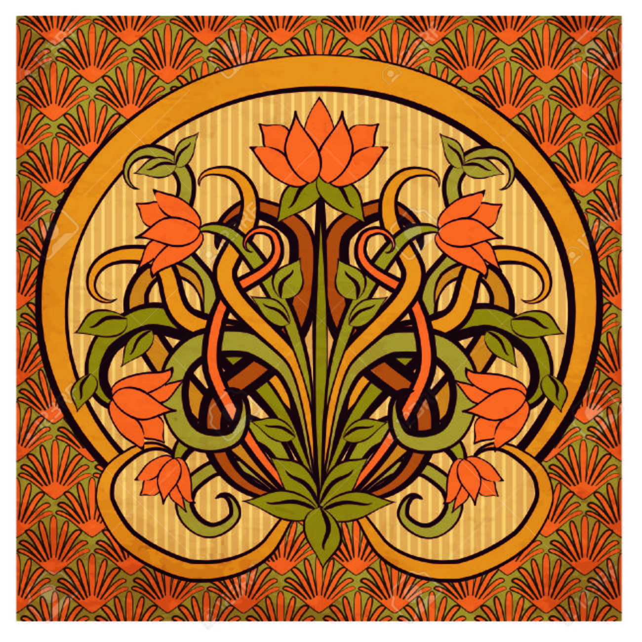 Floral Wallpaper In Art Nouveau Style Vector Illustration Royalty