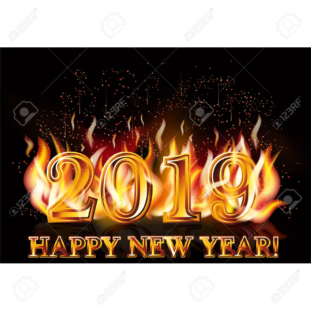 Happy New Year 2019 Fire Wallpaper Stock Vector   107488894