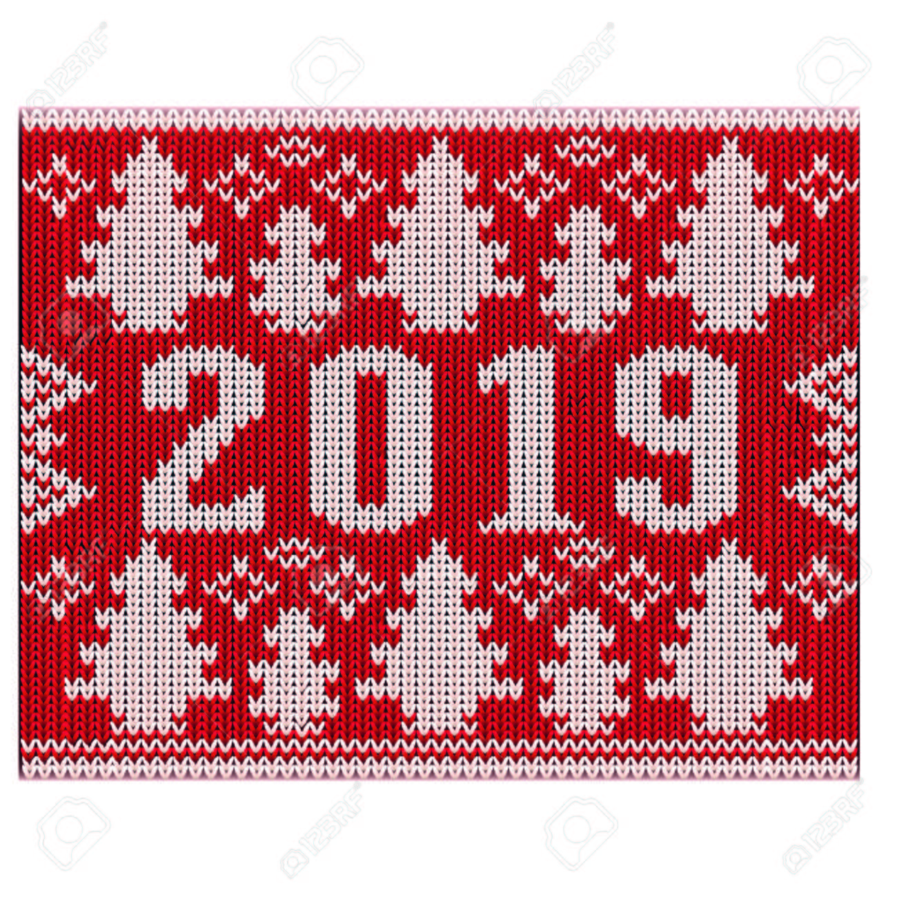 Christmas Jumper 2019 New Year Knitted Texture Vector Illustration