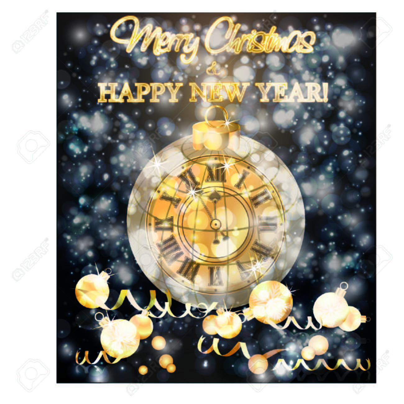 merry christmas new year banner with xmas clock vector illustration stock vector 109142821