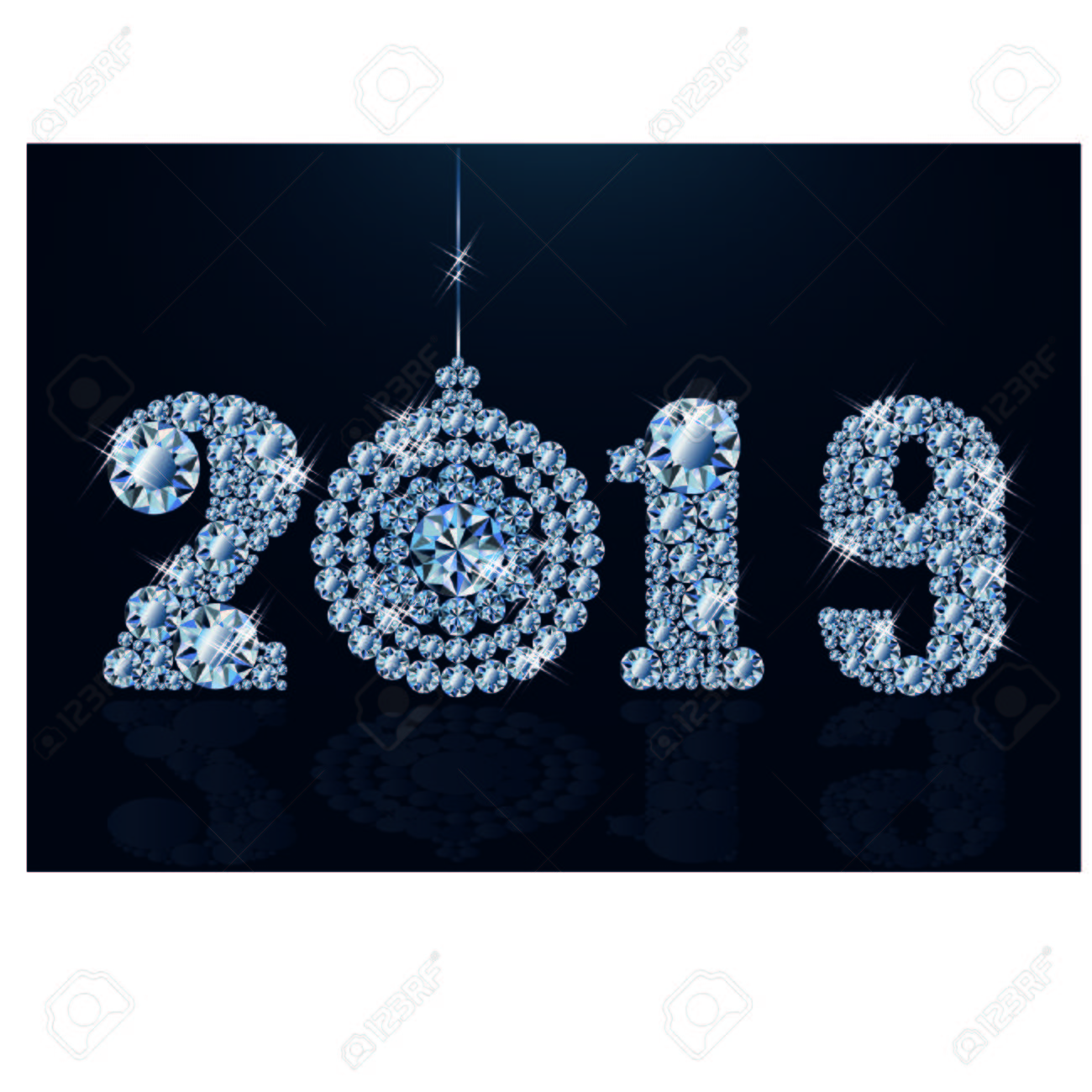 Diamond wallpaper with xmas ball, Happy New Year 2019, vector..