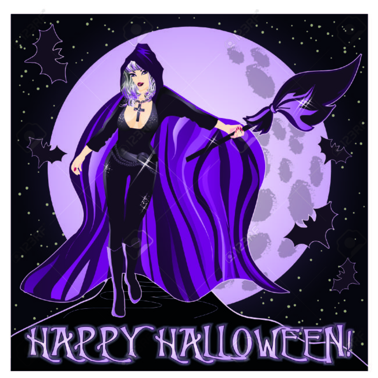 Happy Halloween Invitation Background With Young Sexy Witch Vector Illustration Stock