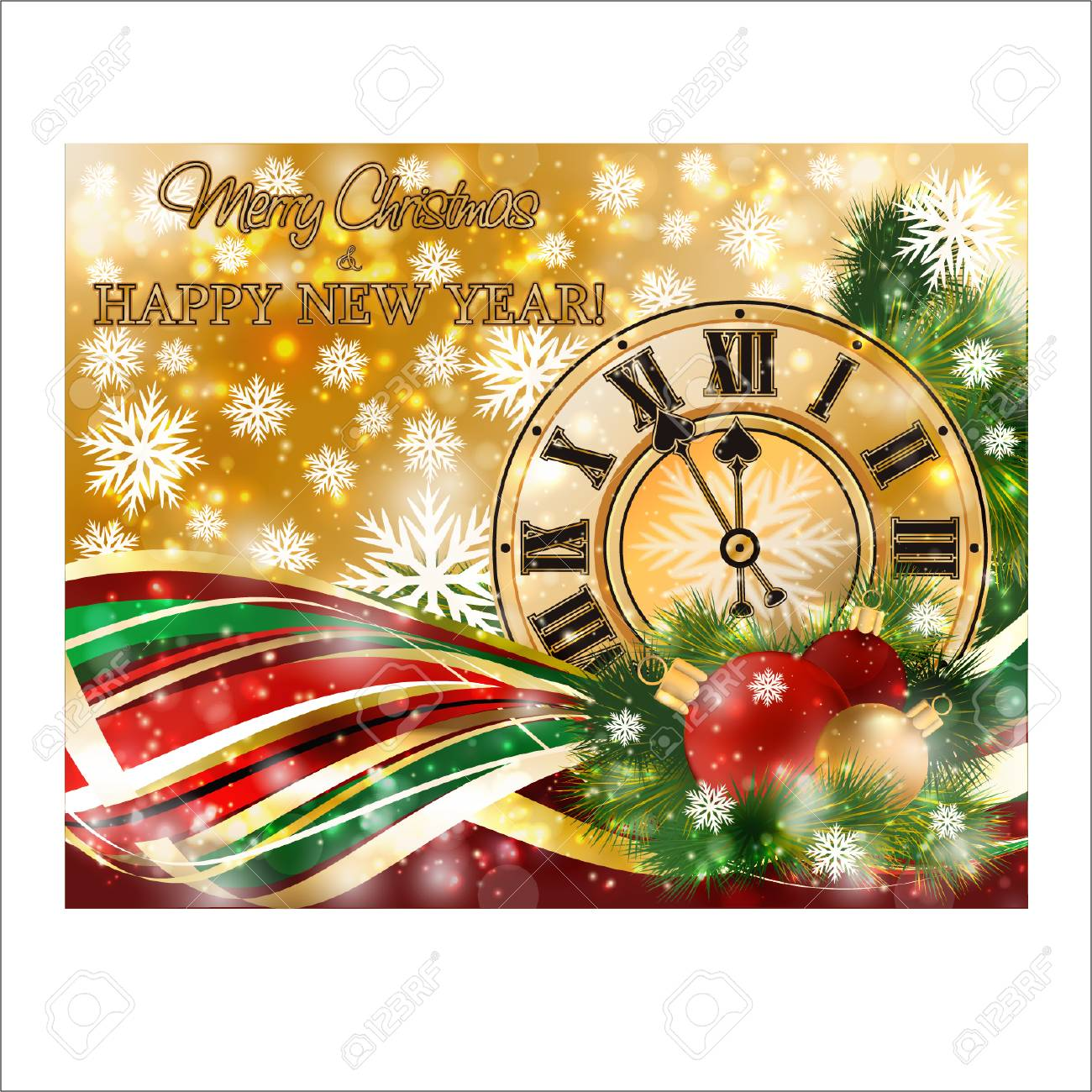 merry christmas new year banner with xmas clock vector illustration stock vector 113023757