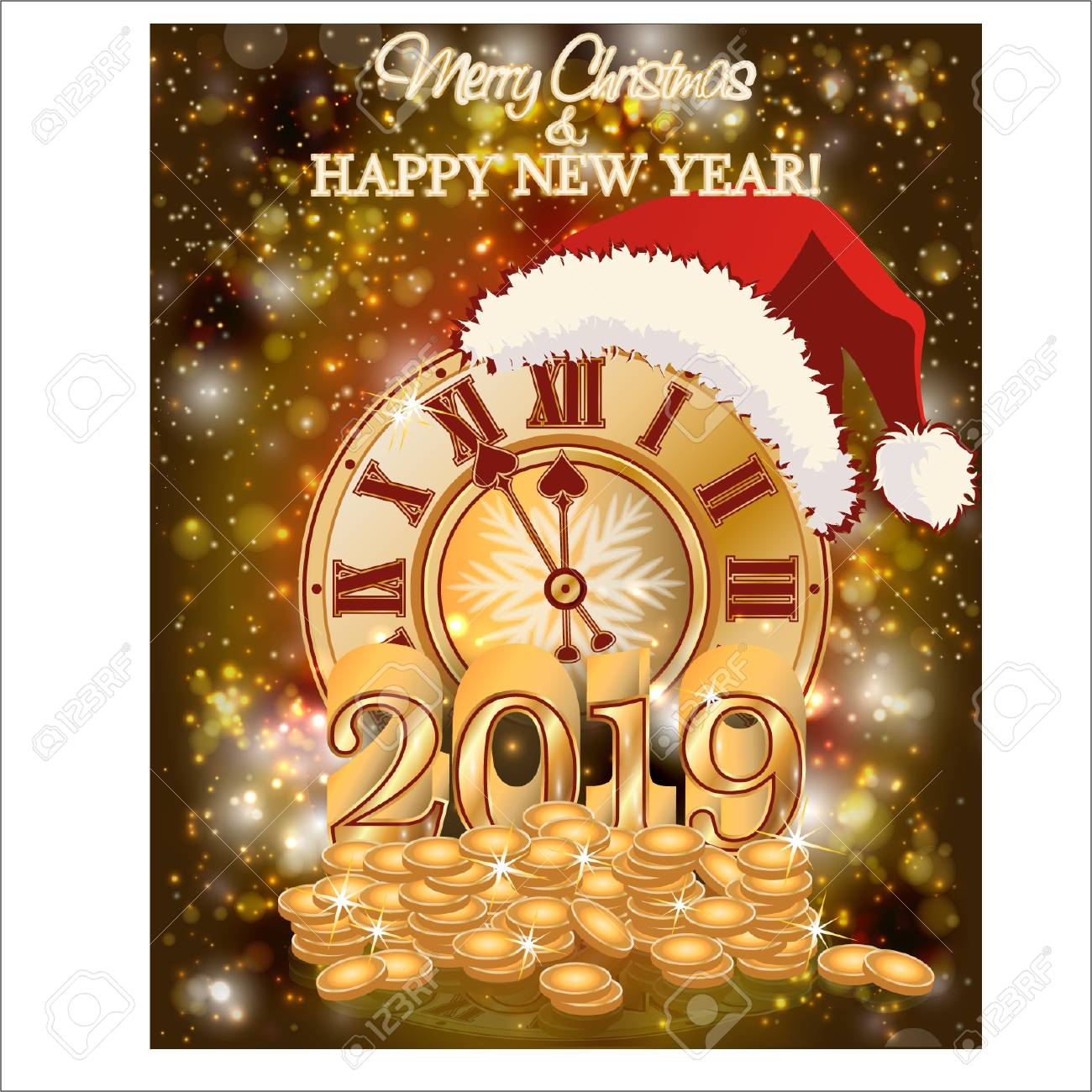 Happy New Year 2019 Wallpaper, Vector Illustration Royalty Free