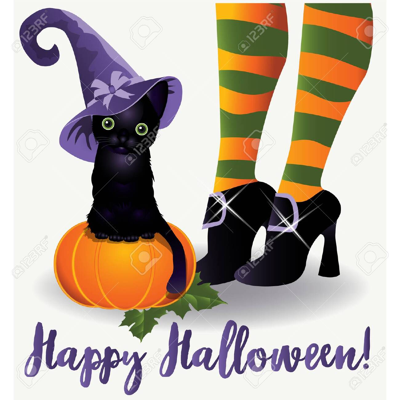 Happy Halloween Wallpaper Black Cat And Witch Vector