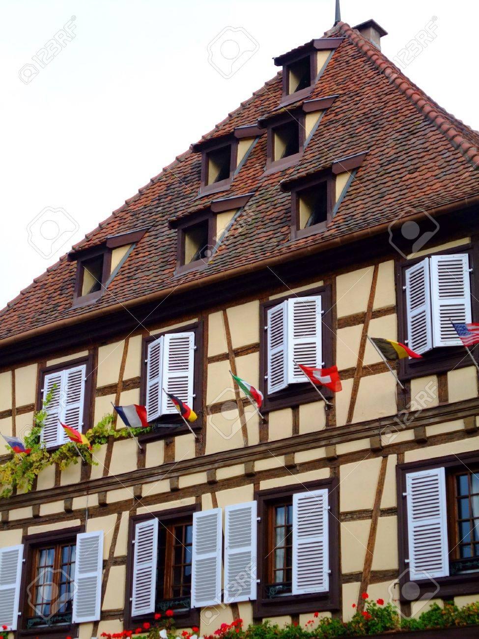 Half-timbered house facade in Alsace - Obernai France Stock Photo - 4086794