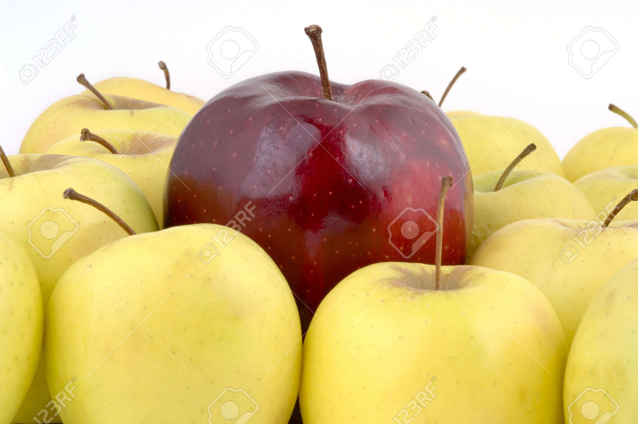 A large red apple surrounded by yellow apples (12MP camera). Stock Photo - 214575