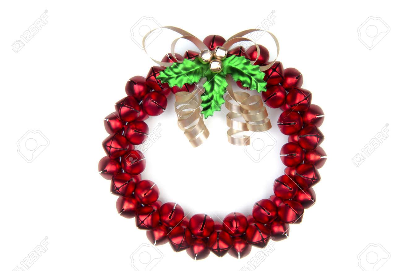 A cheery Christmas sleighbell wreath. (12MP camera, isolated) Stock Photo - 245118