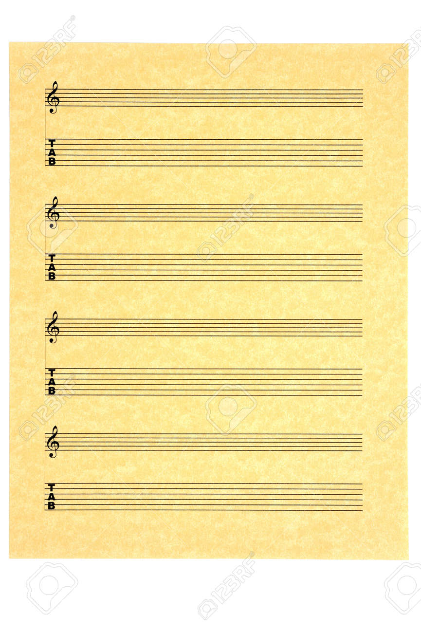 Blank Music Sheet for guitar on parchment paper for your composition. Isolated. Stock Photo - 3604094