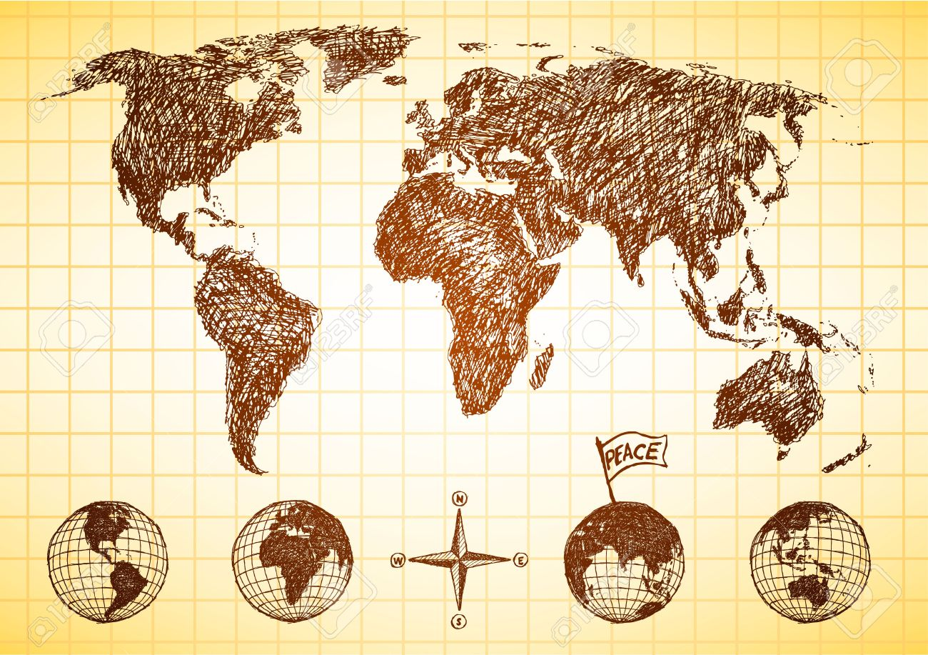 Map Of The World With Compass.Doodle Style World Map With 4 Views Of The Globe And Compass Royalty