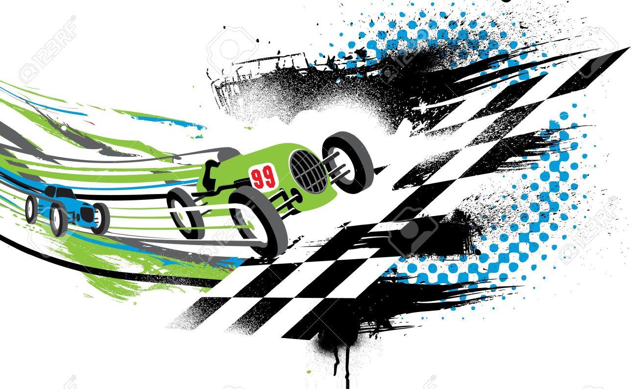 Race To The Finish Line Rsum Illustration De Deux Voitures De
